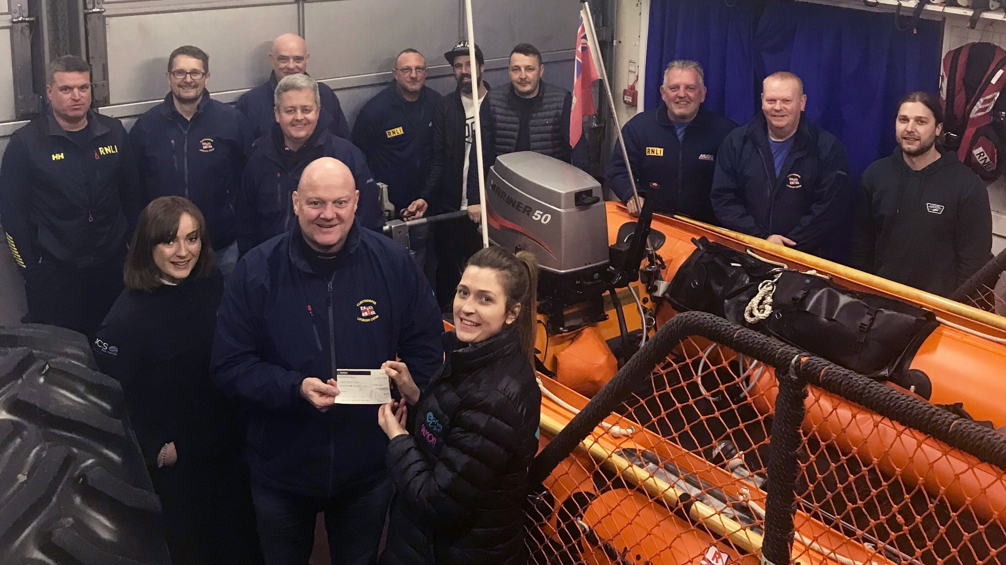 A cheque for the RNLI at Cleethorpes