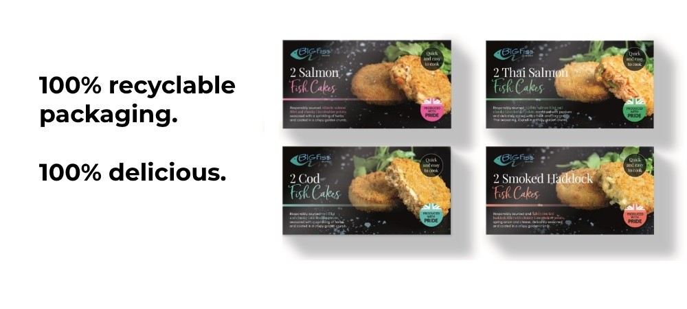 fish cakes with 100% recyclable packaging
