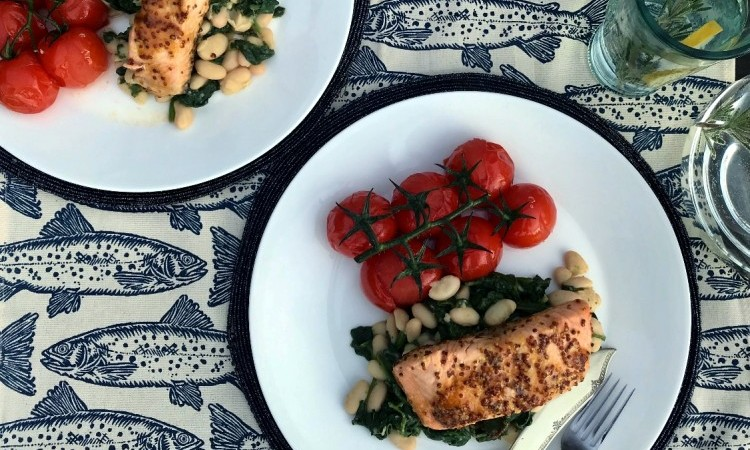 Honey Crust Salmon with White Beans & Spinach