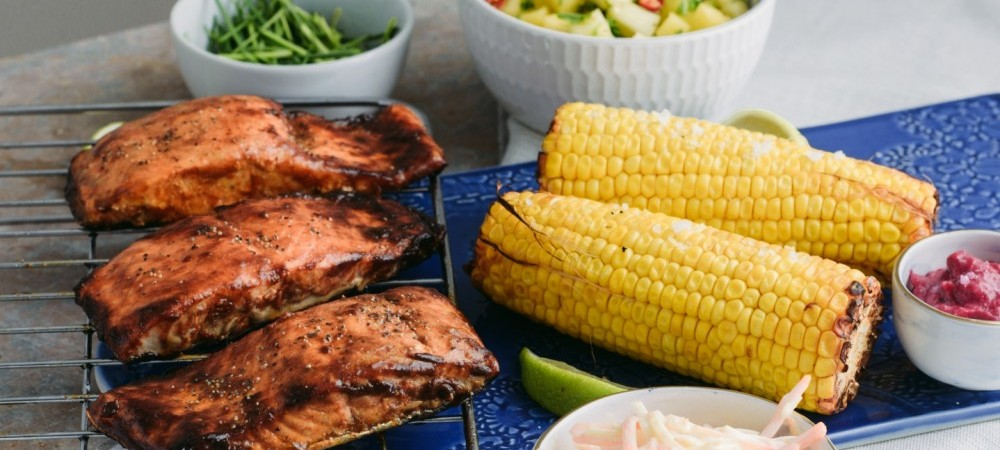 BBQ Salmon with Mango Salsa & Corn