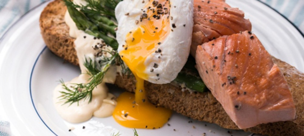 Salmon on Toast with Poached Egg & Asparagus